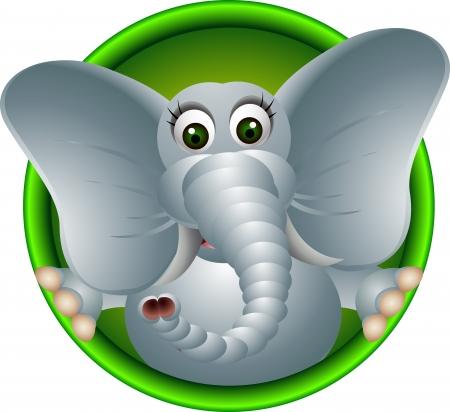 Ilustración de cute elephant head cartoon - Imagen libre de derechos