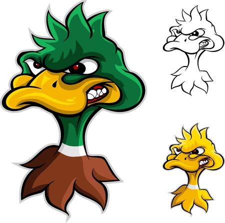 angry duck head cartoon