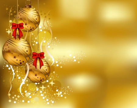 Illustration for beauty christmas card background with gold color - Royalty Free Image