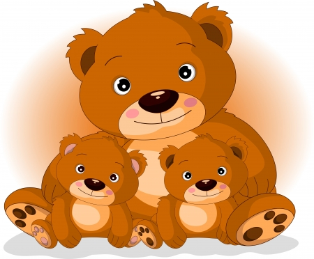 mother brown bear with her sons in love