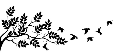 Illustration for Tree silhouette with bird flying - Royalty Free Image