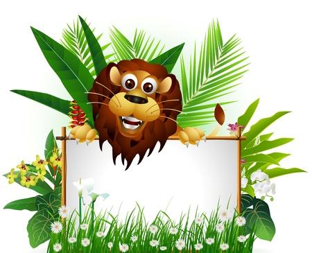 Ilustración de funny brown lion with blank sign and tropical forest background - Imagen libre de derechos