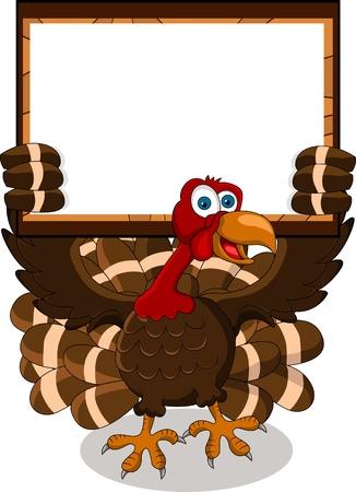turkey cartoon with blank board