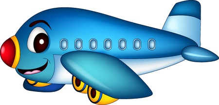 Illustration for cartoon airplane flying - Royalty Free Image