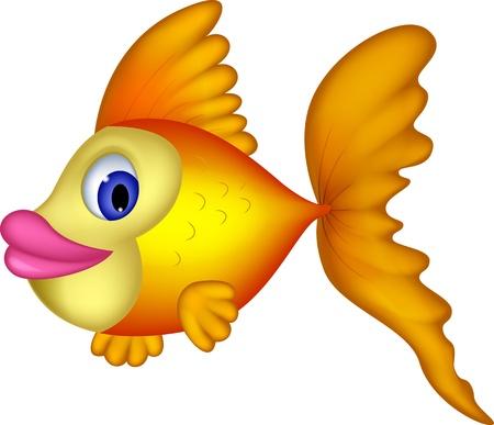 Cute yellow fish cartoon