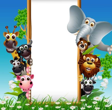 Ilustración de animal cartoon with blank sign and tropical plant - Imagen libre de derechos