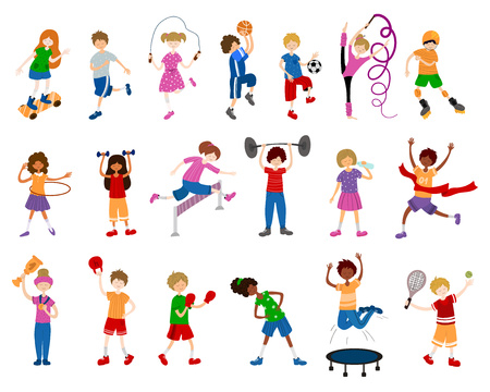 Illustration for Cute cartoon children or kids, girls and boys, play sports or train. Ball game, gymnastics, athletic, skateboarding. Vector set of characters on white background. Flat and noises - Royalty Free Image
