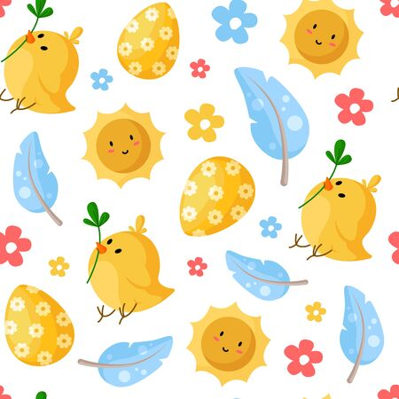 Foto für Easter Day - seamless pattern with easter eggs, chicken, feathers, smilling sun, flowers on white, holiday background or endless texture for textile, fabric, wrapping or scrapbooking paper - vector - Lizenzfreies Bild