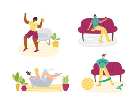 Foto für Stay home concept - women and home activities for covid-19 quarantine isolation - taking bath, dancing, sport exercise and resting,, flat cartoon characters isolated on white - vector illustration - Lizenzfreies Bild