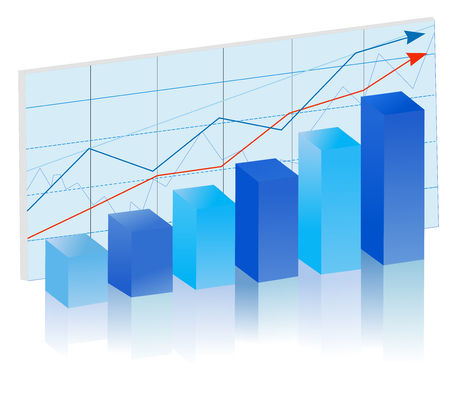 Rising finance bar graph in blue colors. Vector illustration.