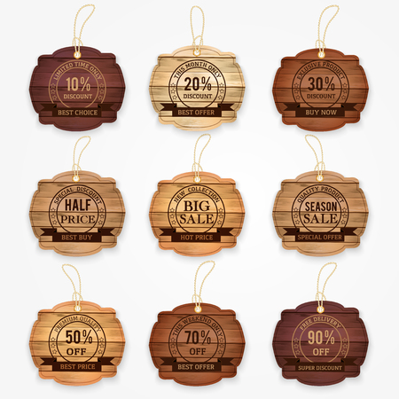 Illustration pour sale and discouncts banners, stickers, labels made from wood varios colors.  Vector illustration. - image libre de droit