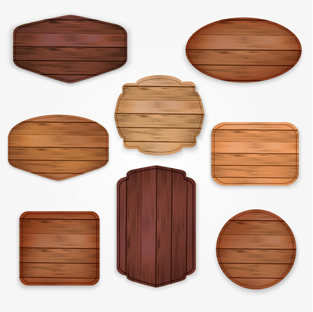 Illustration pour wooden  stickers label collection. Set of Various shapes wooden sign boards  for sale ans discount stickers,placards and billboard - image libre de droit