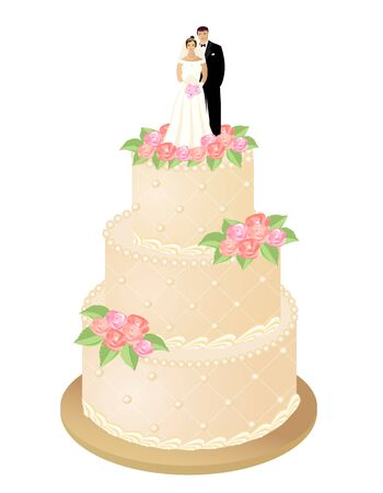 Illustration pour Wedding cake with roses and bride and groom figures. Vector illustration. - image libre de droit