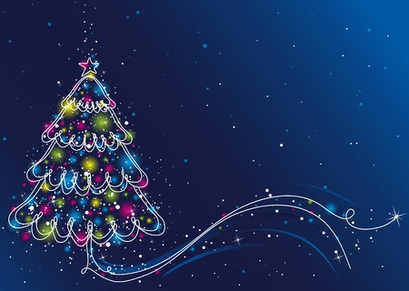 christmas tree  on the blue background, vector illustration