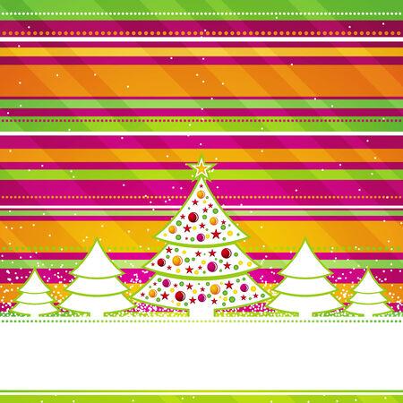 Illustration pour christmas card with forest of pine, vector illustration - image libre de droit