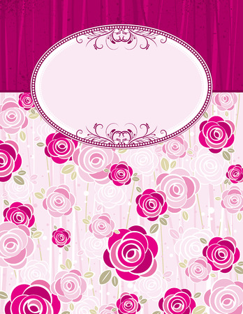 pink valentine background with roses,  vector illustration