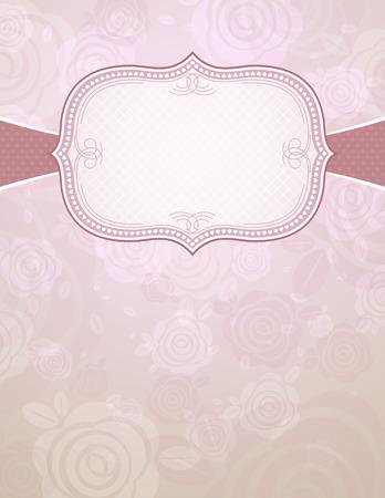 label over color background of roses,   illustration