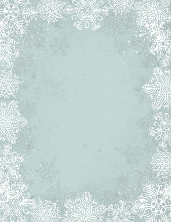 grey christmas background with frame of snowflakes