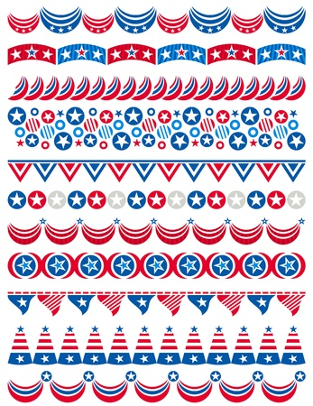 USA decorative borders, ornamental rules, dividers, vector