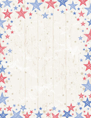 Illustration pour Frame of grunge usa background with red and blue stars vector illustrationDecorative composition suitable for invitations greeting cards flayers banners. - image libre de droit