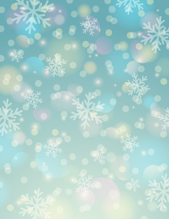 Blue background with snowflake and bokeh, vector illustration