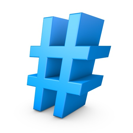 HashTag. 3D Render isolated on white.
