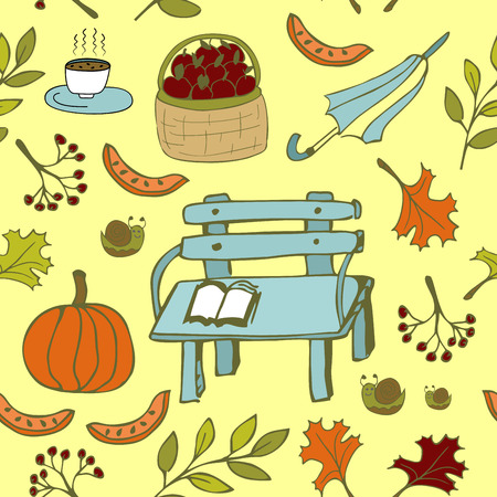 Cute autumn seamless pattern with autumn bench and other garden items