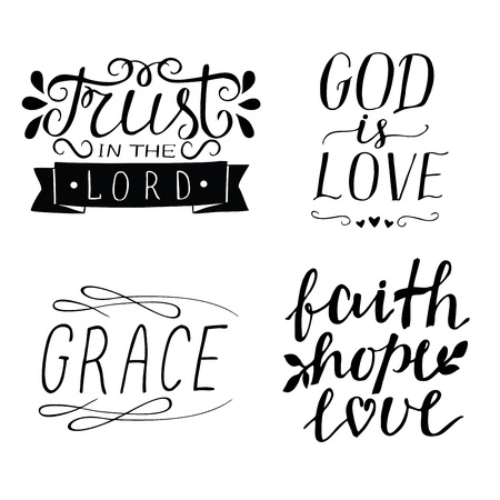 Illustration pour Set of 4 Hand lettering christian quotes God is love. Faith, hope, love. Grace. Trust in the Lord. Biblical background. Poster. Modern calligraphy Card Scripture - image libre de droit
