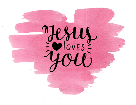 Photo pour Hand lettering Jesus loves you on watercolor backgroup. Biblical background. Christian poster. New Testament. Scripture print. Card. Modern calligraphy. - image libre de droit