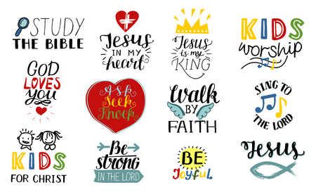 Illustration pour Set of 12 Hand lettering christian quotes Jesus is my king, Study the bible, Walk by faith, Kids ministry, Sing to the Lord, Be joyful, Strong, Worship . - image libre de droit