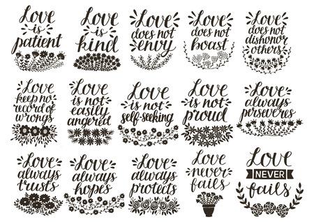 Illustration pour Set of 15 hand lettering quotes about love from Corinthians . - image libre de droit