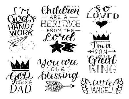 Illustration pour Set of 7 hand lettering baby quotes So loved, , You are our blessing. God is my Dad. - image libre de droit