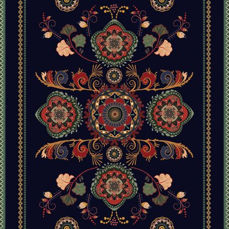 Illustration pour Colorful ornamental seamless vector design for rug, carpet, tapis. Seamless ornamental pattern. Geometric floral backdrop. Arabian ornament with decorative elements. Vector template - image libre de droit