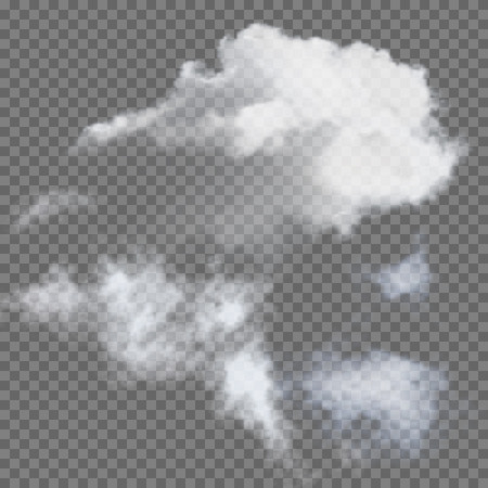 Set of transparent different clouds illustration