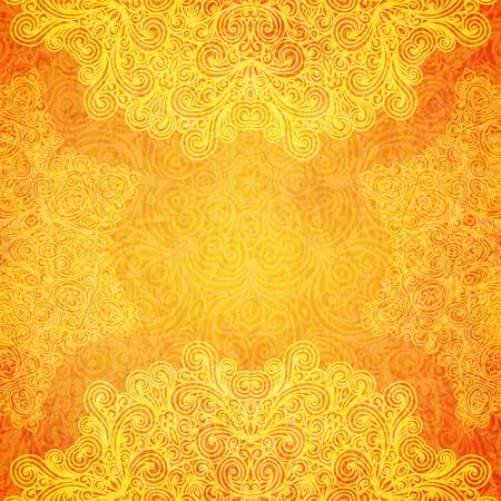 Ilustración de Orange ethnic Indian ornament with hand drawn elements. - Imagen libre de derechos