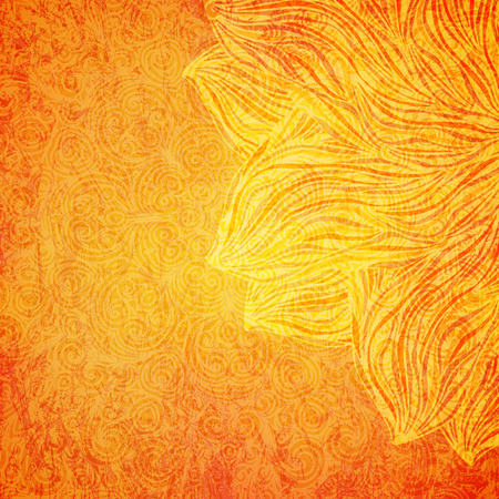 Bright orange background with tribal pattern, vector illustration