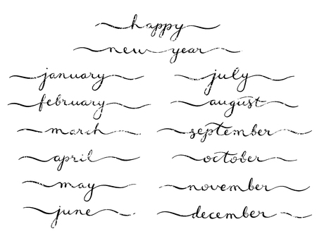 Months of the Year Set  Lettering of january, february