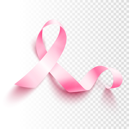 Illustration pour Realistic pink ribbon, breast cancer awareness symbol, vector illustration - image libre de droit