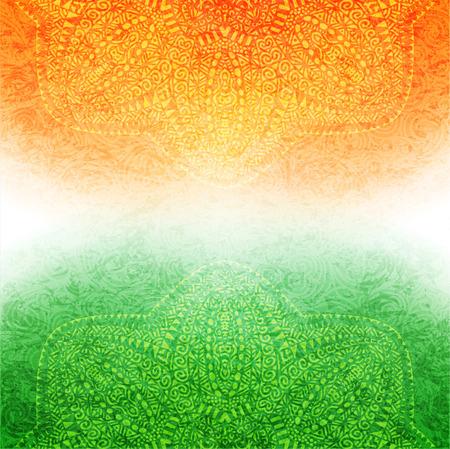 Illustration pour Elegant shiny Indian flag theme with mandala. Vector illustration. - image libre de droit