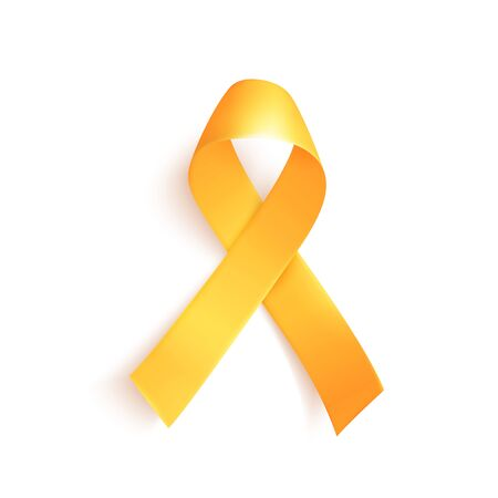 Illustration for World childhood cancer symbol 15th of february, vector illustration. Realistic gold ribbon. Template for poster for cancer awareness month in september. - Royalty Free Image