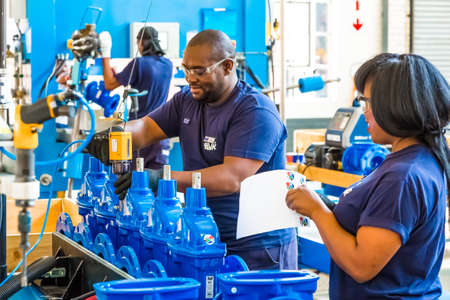 Photo pour Johannesburg, South Africa - September 7 2016: Industrial Valve Manufacturing and Assembly Factory Facility - image libre de droit