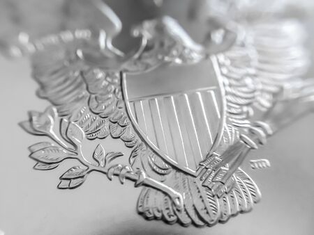 Photo pour Macro Close up of a 999% Silver American Eagle Bullion Coin as Money - image libre de droit