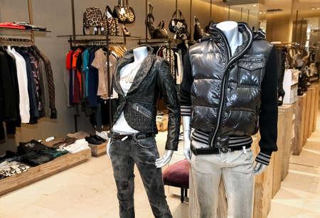 Photo pour Johannesburg, South Africa - April 27 2011: Interior of an Up-Market Fashion Clothing Retail Store - image libre de droit
