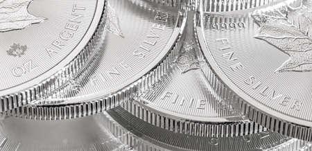 Photo pour Close-up image of a 9999 Silver Canadian Maple Leaf Bullion Coin - image libre de droit