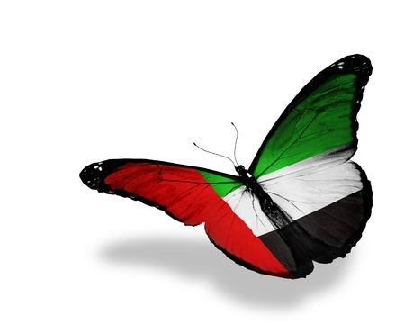 UAE flag butterfly flying, isolated on white background