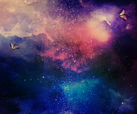 Photo for Universe filled with stars, nebula and butterflies - Royalty Free Image
