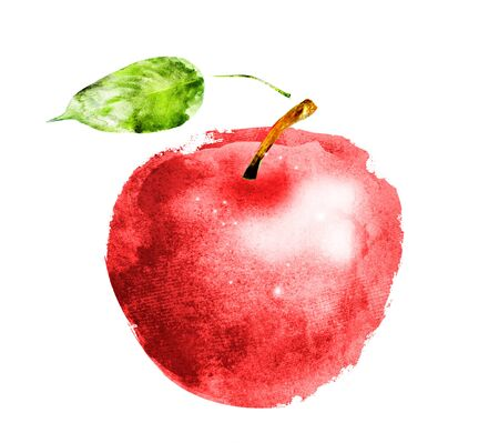 Photo for Watercolor apple on white - Royalty Free Image