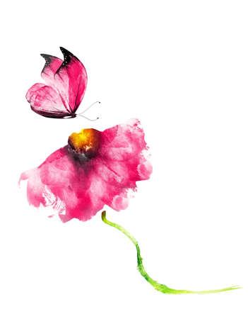 Foto de Watercolor flower with butterfly, isolated on white background - Imagen libre de derechos