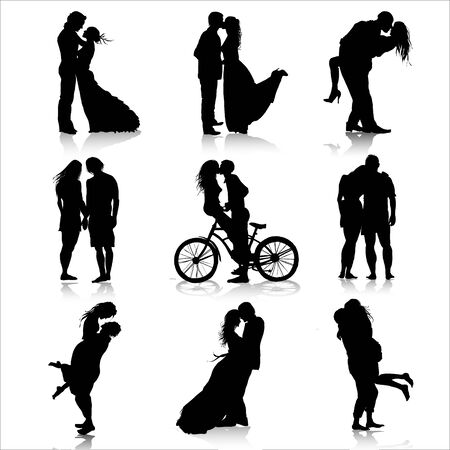 Illustration for Romantic couples silhouettes. Love couple - Royalty Free Image