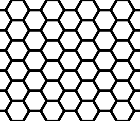 Ilustración de Vector modern seamless geometry pattern hexagon, black and white honeycomb abstract geometric background, subtle pillow print, monochrome retro texture, hipster fashion design - Imagen libre de derechos